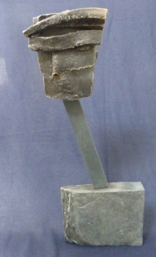 """Don Quixote"" - glazed stoneware on slate stand - SOLD"