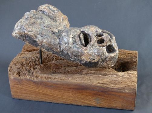 """""""Fallen - after Zoran Music"""" - glazed stoneware (14 cm)"""