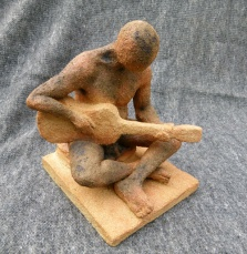 """The Guitarist"" - Stoneware with oxides (24 cm)"