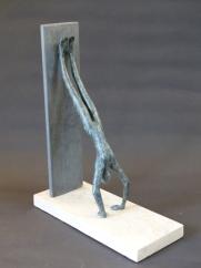 """Handstand II"" - bronze on stone base (29 cm)"