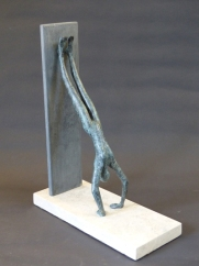 """Handstand II"" - bronze on stone base (29 cm)"