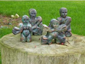 """""""Jigsaw people"""" - glazed stoneware (20 cm)"""