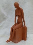 """Woman seated"" - terracotta (44 cm)"