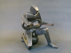 """""""The Guitarist Squared"""" - terracotta, painted, with wire (26 cm)"""
