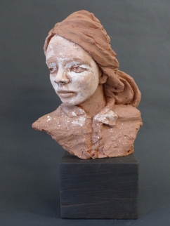 """Pokot"" girl - ""not girl, not yet woman"" - terracotta with coloured slips - 48 cm with base"