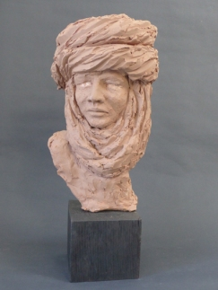 Tuareg man - terracotta with coloured slips - 50 cm with base