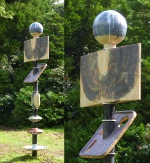 """""""Totem I"""" - stoneware with oxides and glazes - on metal support - ~2.1 metres"""