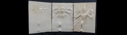 'Emergence' triptych - (h 30 cm) - stoneware ceramic with glazes.