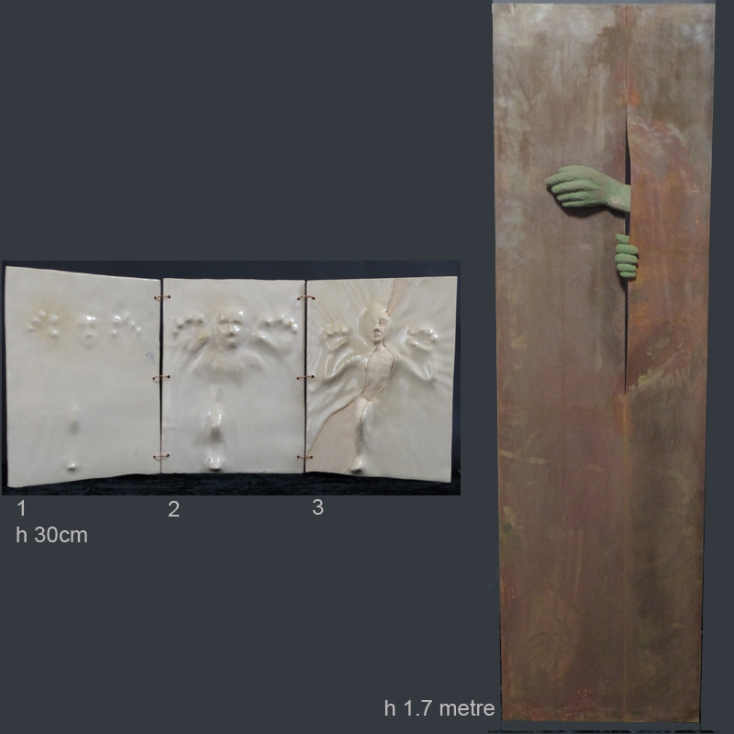'Emergence' triptych - (h 30 cm) - stoneware ceramic with glazes. 'Emergence I' - (h 1.7 metres) - rusted steel screen with ceramic hands